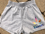 Girls Soffe Shorts-Grey with unicorn