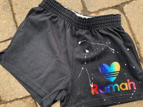 Girls Soffe Shorts-Black with rainbow foil striped heart