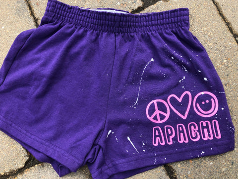 Girls Soffe Shorts-Purple with peace, love, happy
