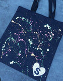Custom Splatter Painted Initial Tote Bag