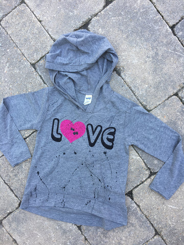Grey Long Sleeve Hoodie with Pouch-LOVE