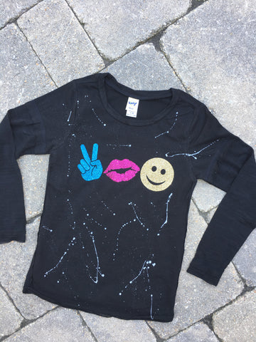 Black Raw Edge Two-Fer Burnout Long Sleeve - Peace Fingers, Lips, Happy