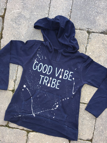 Navy Blue Long Sleeve Hoodie with Pouch-Good Vibe Tribe