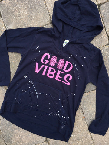 Navy Blue Long Sleeve Hoodie with Pouch-Good Vibes