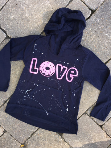 Navy Blue Long Sleeve Hoodie with Donut Love