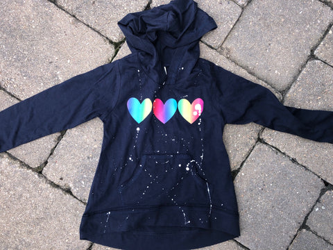 Navy Blue Long Sleeve Hoodie with Rainbow Ombre Hearts