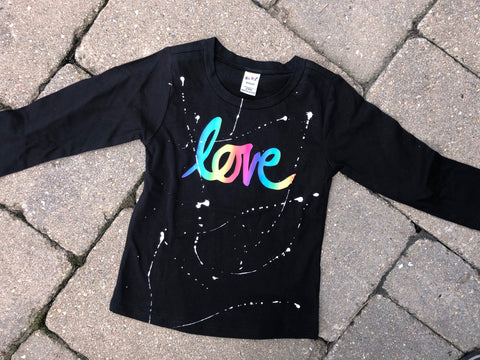 Black Raw Edge High Low Long Sleeve - Rainbow Ombre Script Love