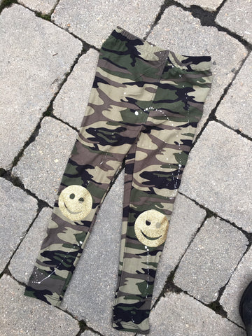 Camo Leggings with Gold Smileys