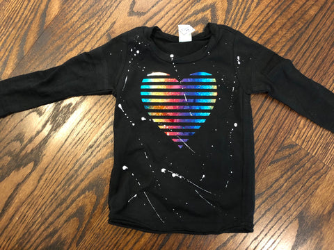 Rainbow Foil Striped Heart-black-size 6 mos-GIT
