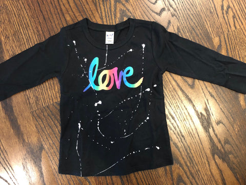 Rainbow LOVE-black-size 24 mos-GIT