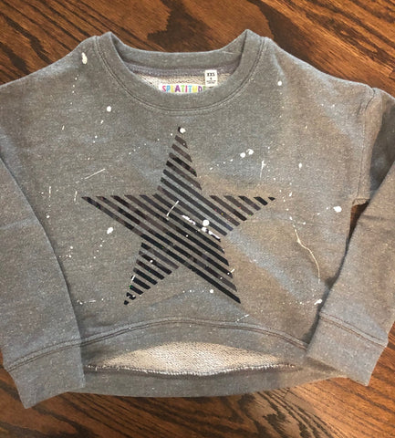 Grey Cropped Sweatshirt-Star-size 4-GIT