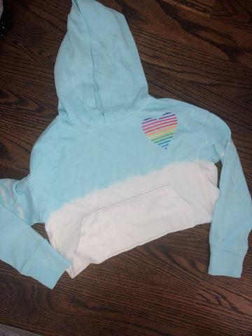 Cropped Hoodie with Rainbow Striped Heart-size 9/10-GIT