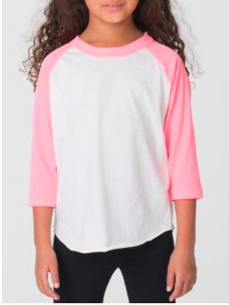 Design Your Own Neon Pink 3/4 Sleeve Raglan