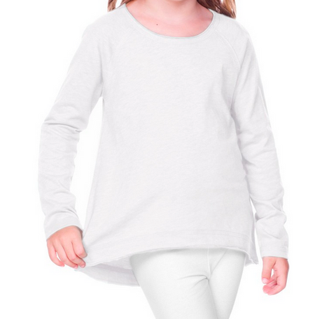 Design Your Own White Raw Edge High Low Long Sleeve