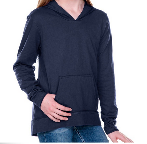 Design Your Own Navy Blue Long Sleeve Hoodie with Pouch