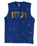 Muscle Tank with Rainbow Foil Stripes and Bolt