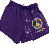 Girls Soffe Shorts-Purple with Tie Dye Peace