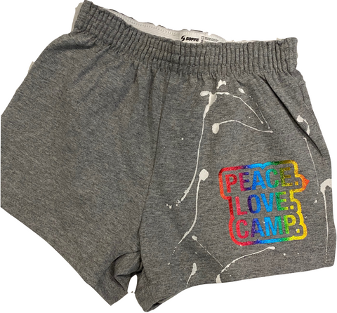 Girls Soffe Shorts-Grey with Rainbow Peace Love Camp