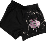 Girls Soffe Shorts-Black with Foil Splatter Lips