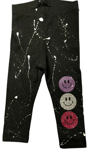 Custom Splatter Painted Leggings with Happy Faces