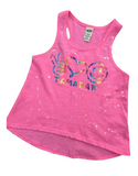 Pink High Low Racerback-peace love happy