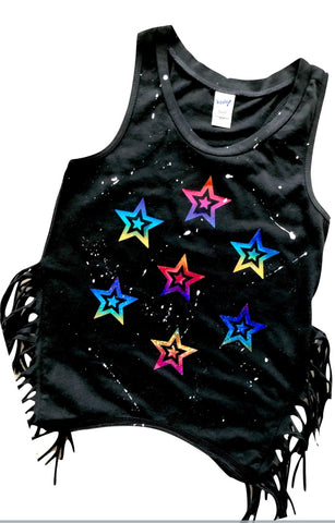 Black Fringe Tank with Rainbow Foil Stars