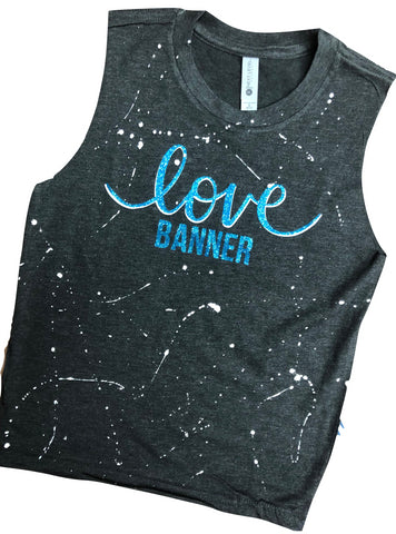 Charcoal Muscle Tank with Layered Love