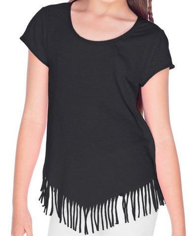 Design Your Own Black V-Fringe Short Sleeve