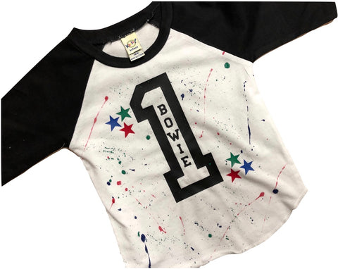 3/4 sleeve Black Raglan Birthday Shirt-Name in Number