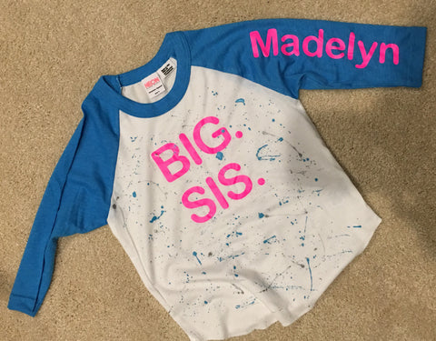 3/4 sleeve Blue Raglan BIG SIS shirt