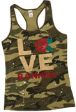Camo Racer Back Tank with LOVE/Rose