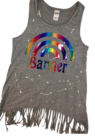 Grey Fringe Tank with Rainbow in Rainbow Foil