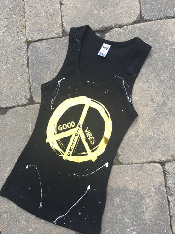 Black Beater Tank with Gold Foil Peace/Good Vibes