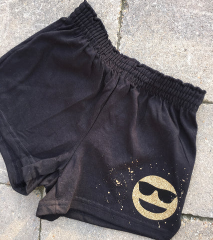 Girls Soffe Shorts-Black with Sunglasses Emoji