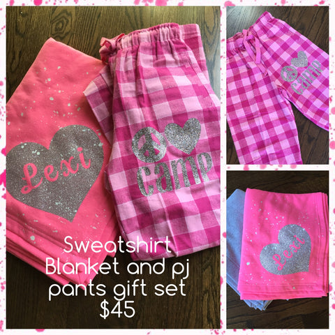 Sweatshirt Blanket and Pink Pajama Pant Gift Set