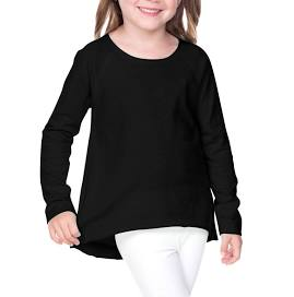 Design Your Own Black Raw Edge High Low Long Sleeve