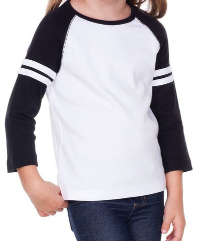 Design Your Own Black Stripe 3/4 Sleeve Raglan