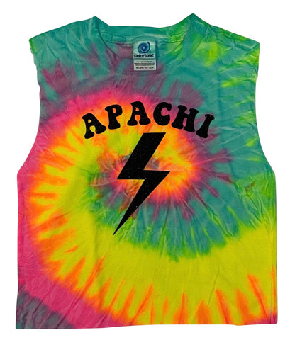 Neon Tie Dye Muscle Tank with Bolt