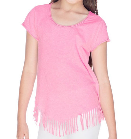 Design Your Own Pink V-Fringe Short Sleeve