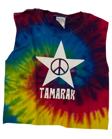 Rainbow Tie Dye Muscle Tank with Peace Star