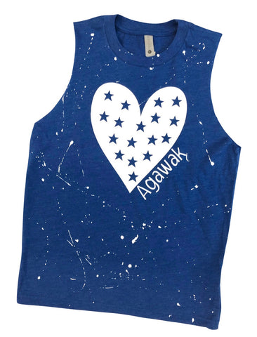 Blue Muscle Tank with Starry Heart