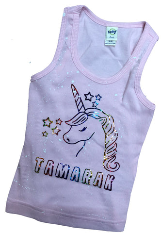 Light Pink Beater Tank with Unicorn and Name