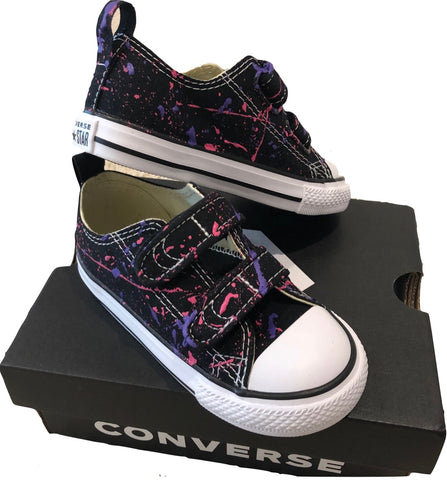 Custom Splatter Painted Converse-Infant/Toddler VELCRO