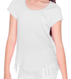 Design Your Own White V-Fringe Short Sleeve