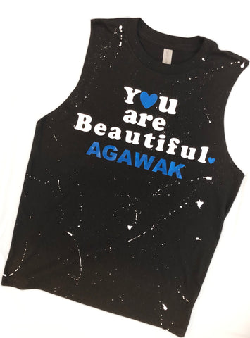 "Black Muscle Tank with ""You are Beautiful"""
