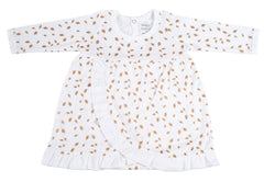 Organic Cotton Baby Girl Dress - AUTUMN LEAVES GOLD