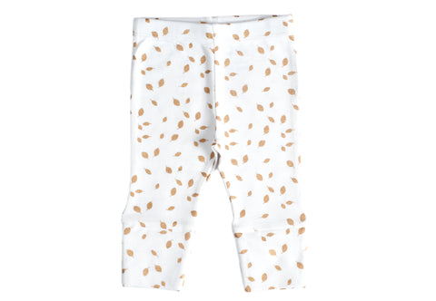 Organic Cotton Baby Leggings - AUTUMN LEAVES GOLD