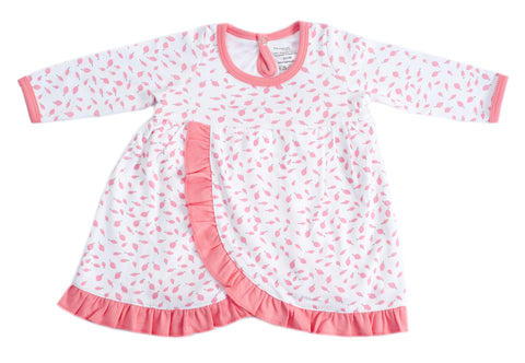 Organic Cotton Baby Girl Dress - AUTUMN LEAVES PINK