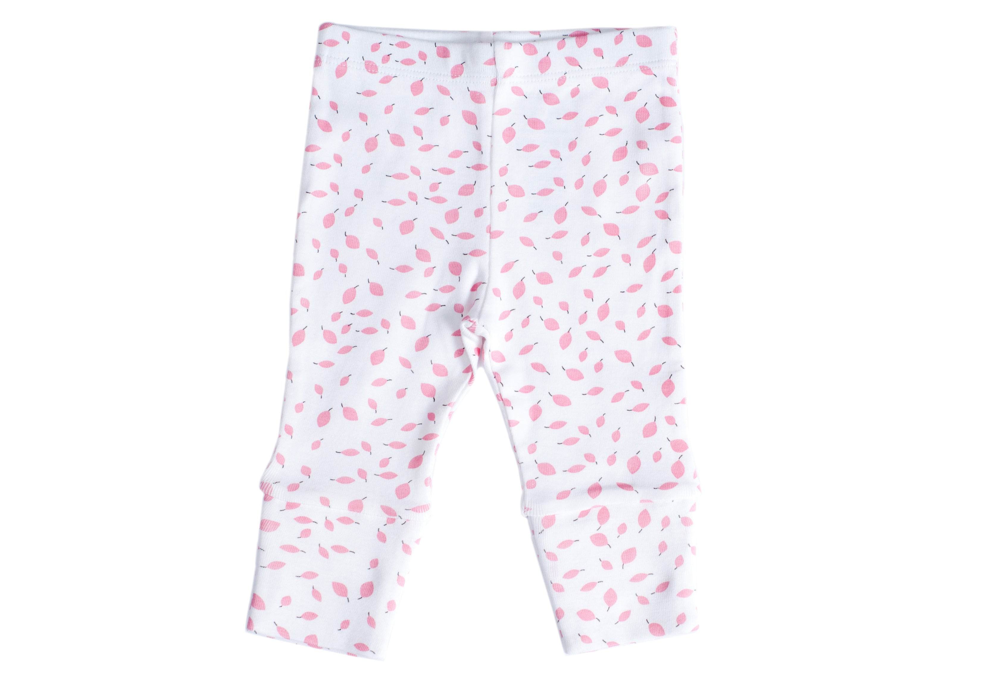 Organic Cotton Baby Leggings - AUTUMN LEAVES PINK