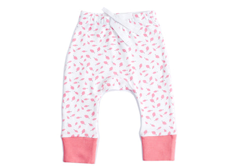 Organic Cotton Baby Pant - Autumn Leaves Pink
